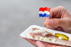 Tasty fresh herring with onion and netherland flag on the water channel background in Amsterdam. Traditional dutch food. Traditional dutch food: herring fish stock photos