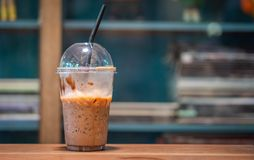 Tasty Fresh Iced Mocha Coffee. In Organic Fresh Coffee Shop royalty free stock images