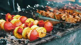 Tasty fresh meat strung on a skewer is fried on brazier. Shish kebab from pork and vegetables. Tasty fresh meat strung on a skewer is fried on a brazier. Shish stock video