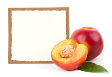 Tasty fresh peach with banner Royalty Free Stock Images