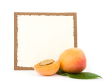 Tasty fresh peach with banner Stock Photography
