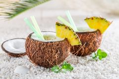 Tasty and fresh pinacolada in coconut Stock Images