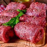 Tasty and fresh raw beef roulades. A tasty and fresh raw beef roulades Royalty Free Stock Images