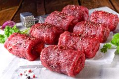 Fresh raw beef roulades. A tasty and fresh raw beef roulades Stock Photos