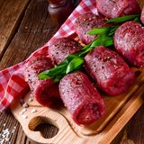 Fresh raw beef roulades. A tasty and fresh raw beef roulades Stock Image