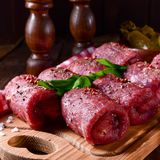 Fresh raw beef roulades. A tasty and fresh raw beef roulades Royalty Free Stock Image