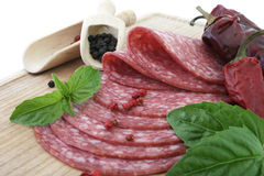 Tasty Fresh Slices Salami. Stock Images