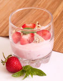 Tasty fresh strawberry smoothie Stock Photos