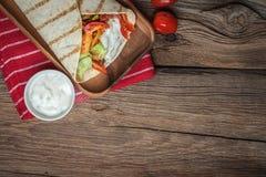 Tasty fresh wrap sandwich. Royalty Free Stock Photos