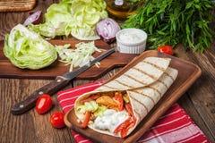 Tasty fresh wrap sandwich. Stock Photos