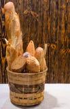 Tasty freshly baked assortment of fresh bread Stock Photo