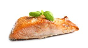 Tasty freshly cooked salmon. On white background Royalty Free Stock Photography