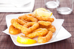 Tasty fried calamari. Plate of tasty fried calamari with lemon stock images