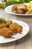 Tasty fried chicken kebob Royalty Free Stock Images