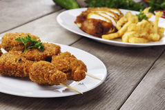 Tasty fried chicken kebob Stock Photos