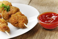 Tasty fried chicken kebob Royalty Free Stock Photography