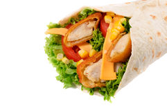 Chicken wrap isolated Royalty Free Stock Image