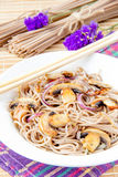 Tasty fried food - buckwheat noodles Royalty Free Stock Image