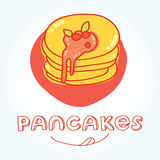Tasty fried pancakes  in hand drawn style Stock Photography