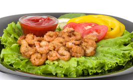 Tasty fried prawn food Stock Photos