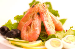 Tasty fried prawn food with olives Stock Images