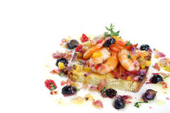 Tasty fried shrimps with berries isolated Stock Photos