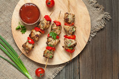 Tasty fried turkey or chicken kebab skewers bbq Stock Image