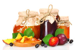 Tasty fruit and berry jam Stock Images