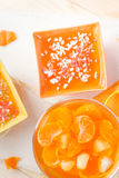 Tasty fruit jelly with slices orange Royalty Free Stock Image