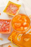 Tasty fruit jelly with slices orange Royalty Free Stock Photography