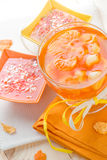 Tasty fruit jelly with slices orange Royalty Free Stock Images