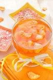 Tasty fruit jelly with slices orange Stock Image
