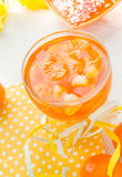 Tasty fruit jelly with slices orange Stock Photos