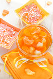 Tasty fruit jelly with slices orange. Tasty fruit jelly with slices of orange Royalty Free Stock Photography