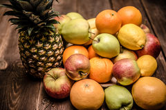 Tasty fruit orange, apples and banana pineaplle royalty free stock photography