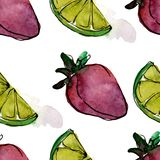 Tasty fruit in a watercolor style. Aquarelle sweet dessert illustration set. Seamless background pattern. Fabric wallpaper print texture vector illustration