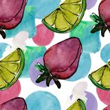Tasty fruit in a watercolor style. Aquarelle sweet dessert illustration set. Seamless background pattern. Fabric wallpaper print texture stock image