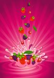 Tasty fruit in yoghurt. On an abstract background Royalty Free Stock Photos