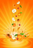 Tasty fruit in yoghurt. On an abstract background Royalty Free Stock Image