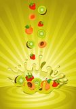 Tasty fruit in yoghurt. On an abstract background Stock Image