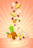 Tasty fruit in yoghurt. On an abstract background Royalty Free Stock Photography