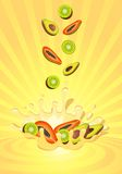 Tasty fruit in yoghurt. On an abstract background Royalty Free Stock Images