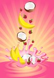 Tasty fruit in yoghurt. On an abstract background Stock Photo