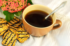 Tasty fruitcake and cup of coffee Royalty Free Stock Images