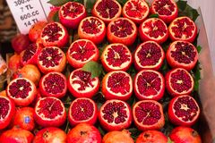 Tasty garnets at a farmers market Stock Image
