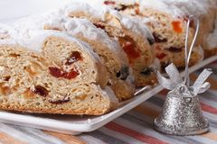 Tasty German Christmas fruit cake Stollen macro horizontal Stock Photography
