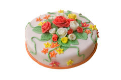 Tasty gift. A pie beautifully decorated with flowers from a dough royalty free stock photos