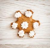 Tasty gingerbread star, Christmas theme Stock Photos