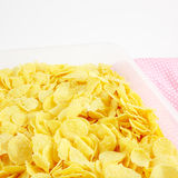 The tasty golden corn flakes in plastic container box Royalty Free Stock Photography