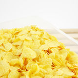 The tasty golden corn flakes in plastic container box Stock Photography